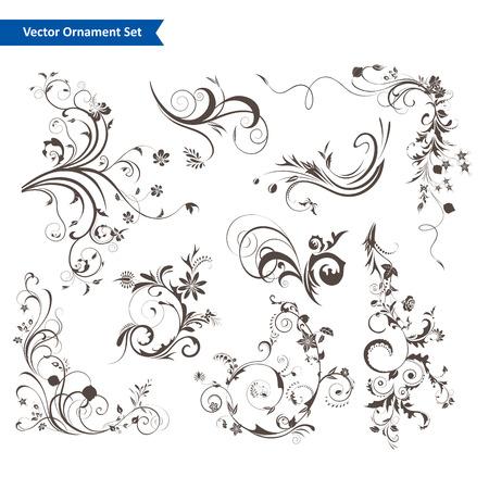 デザインの花柄要素のセット  イラスト・ベクター素材