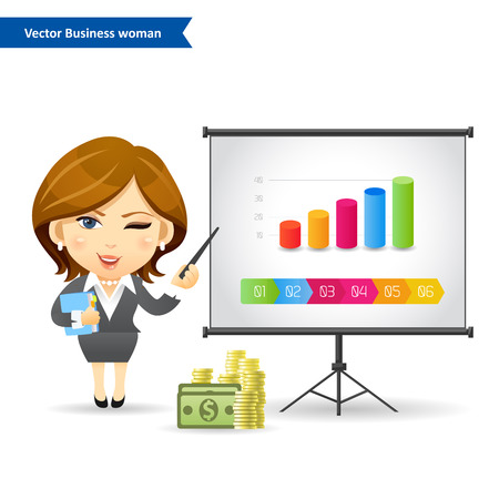presentation screen: Business woman