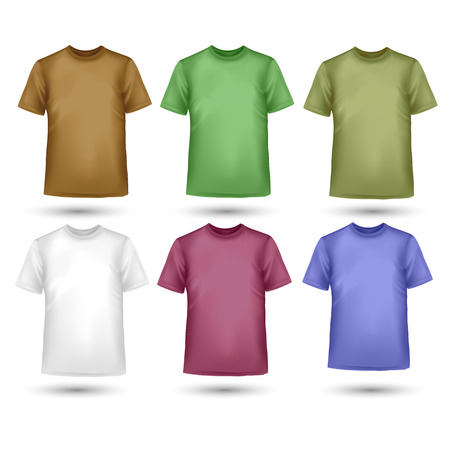 sport woman: Set of colorful male t-shirts Illustration