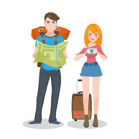 foreigner: Traveler vector illustration Illustration