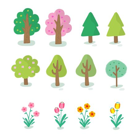 set of flat trees and flowers