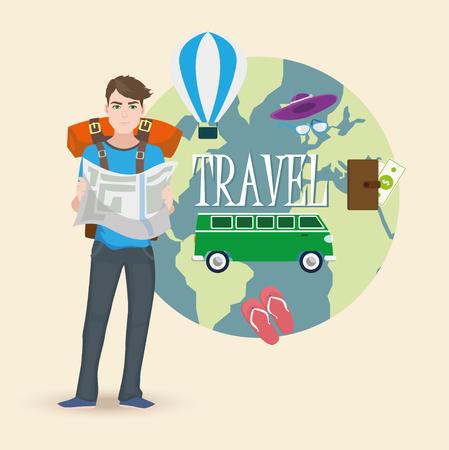 Traveler vector illustration Stock Illustratie