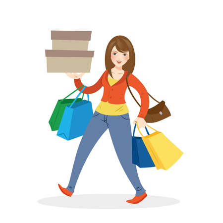 lady shopping: Happy shopping girl vector