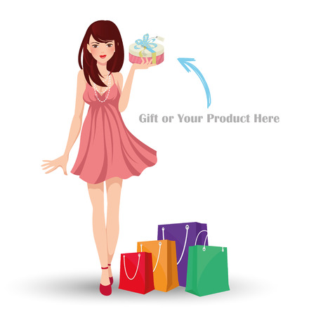 sexy young girl: Beautiful girl with Shopping Bag Иллюстрация