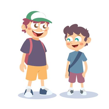 grade school age: School Boy Vector Illustration