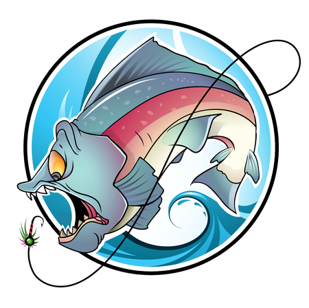 Large Fish Catching Bait Vector Illustration