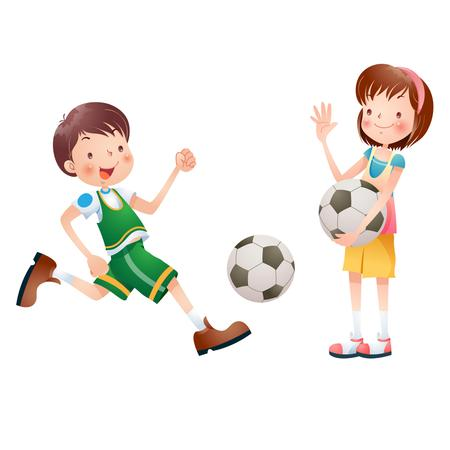 playing soccer: Cartoon kids playing soccer