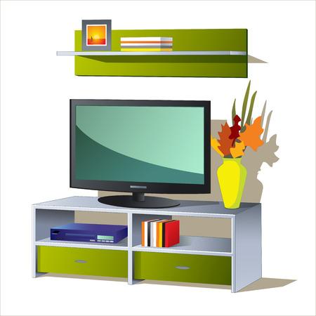 TV Shelf book 向量圖像