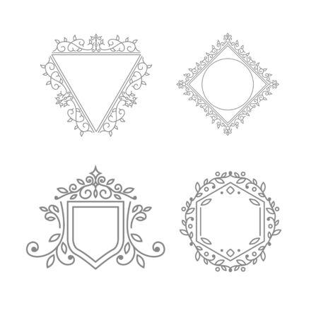 Bloeit kalligrafisch monogram