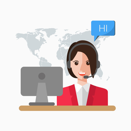 switchboard operator: Customer Service Illustration