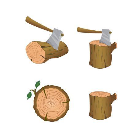 Cutting wood elements Vettoriali