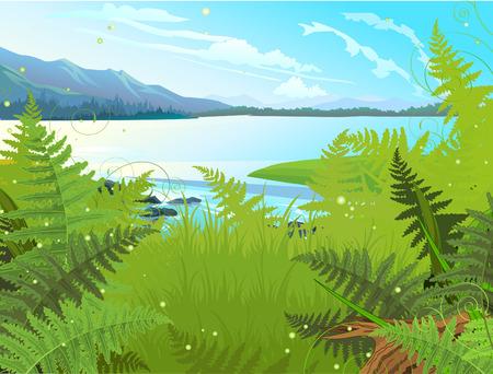 tree log: Lake landscape