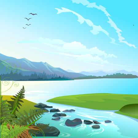 Lago paisaje Foto de archivo - 70733708