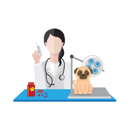 Veterinarian woman with dog vector illustration.  イラスト・ベクター素材