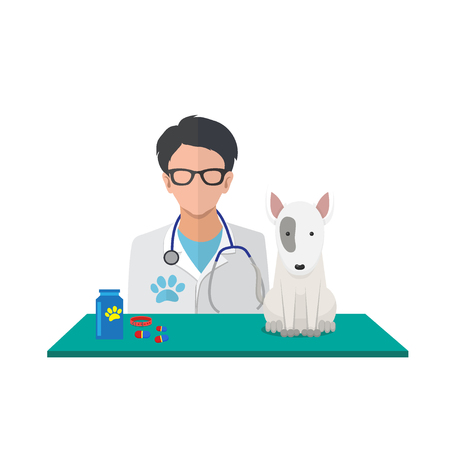 Veterinarian guy with dog vector illustration.