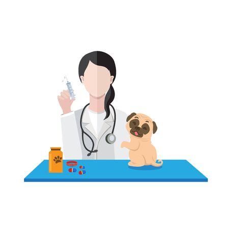 Veterinarian woman with dog vector illustration. Illustration