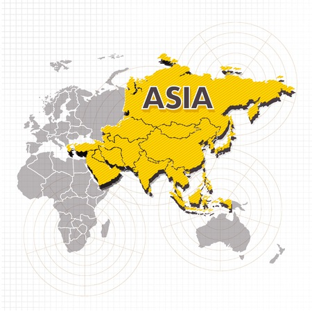 Asia continent vector icon illustration on white background.