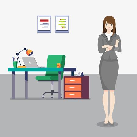 Office girl and her office illustration Ilustração