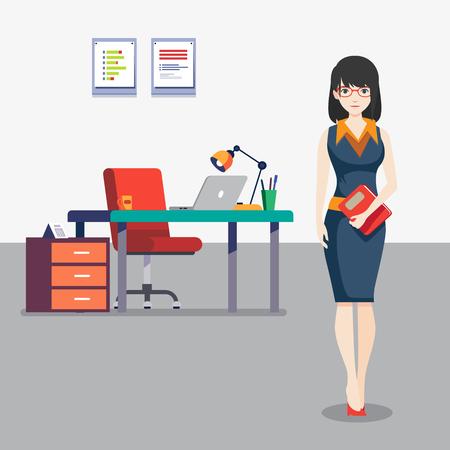 Girl in the office  illustration Ilustração