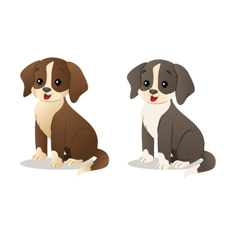 Puppies Vector illustration isolated on white background. Ilustrace