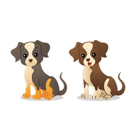 Puppies Vector illustration isolated on white background. Illusztráció