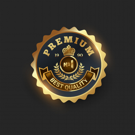 Golden retro badges on black background