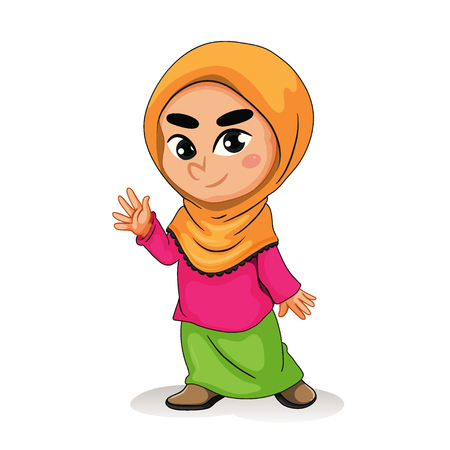 Muslim girl vector illustration