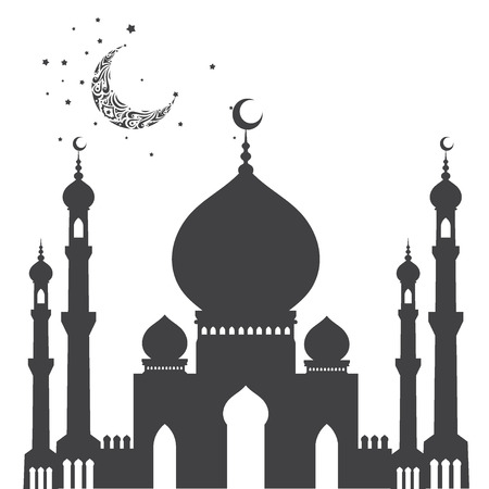 Vector silhouette of a mosque illustration.