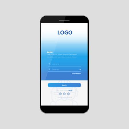 Kit interfaccia utente mobile. Modulo di iscrizione, modulo di accesso per l'app