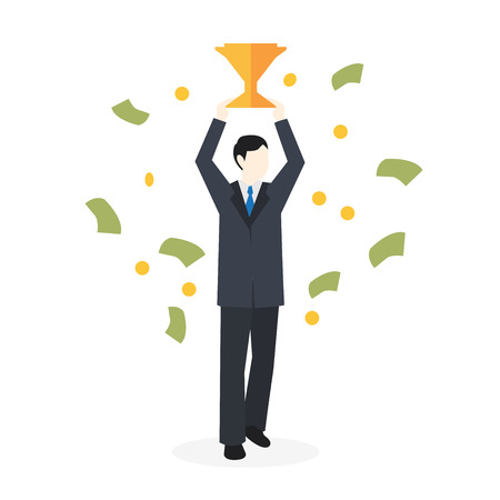Vector illustration of happy business team celebrates success standing under money rain