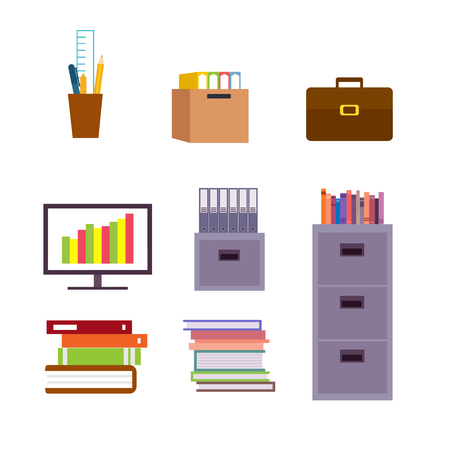 Set Of Office Object and Furniture Ilustracja
