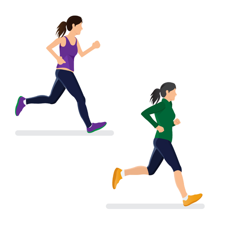 Woman Running Isolated on White Bacground Illustration