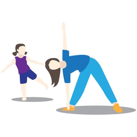 Mother and daughter doing morning exercises Ilustração