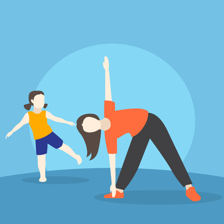 Mother and daughter doing morning exercises Illustration