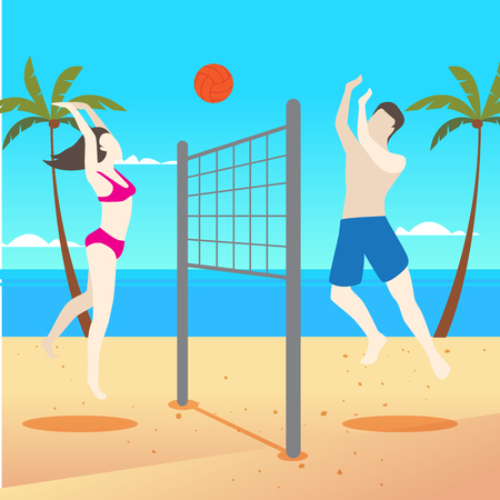 Beach Volleyball Vector 免版税图像 - 123154940