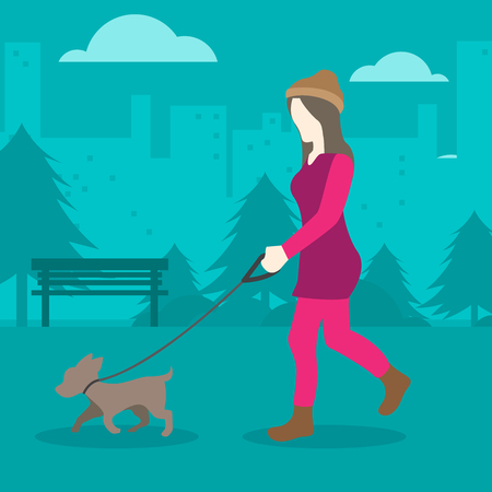 Woman with Dogs in the Park