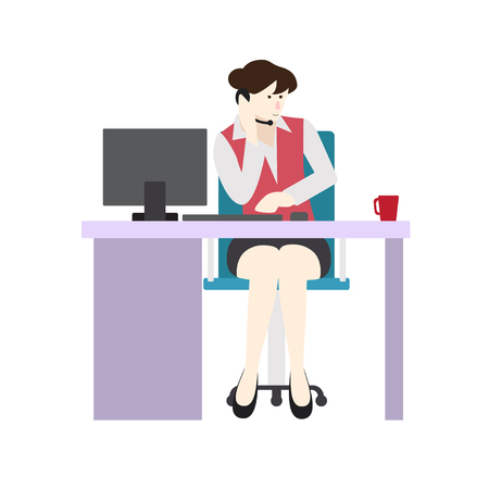Business woman entrepreneur in a suit working on a laptop computer