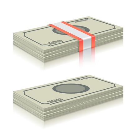 Big stacked pile of cash vector