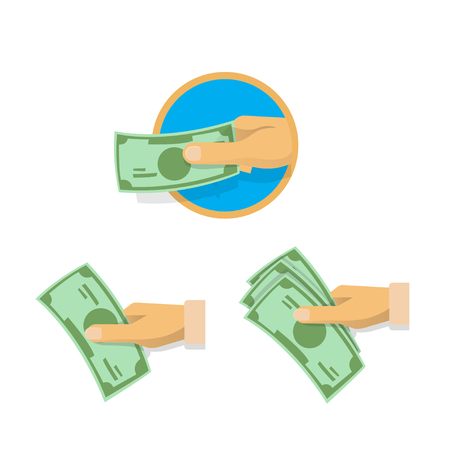 Hand, giving, taking, squeezing and showing cash