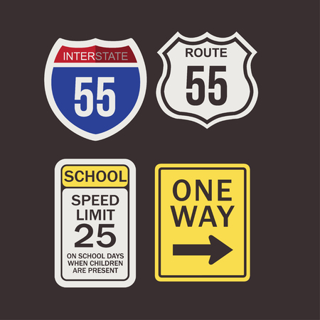 various road signs vector illustration