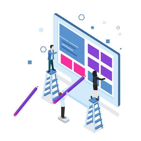 Modern flat design isometric concept of Web Development