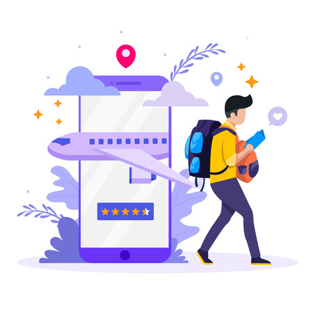 Vector illustration concept of Book your flight