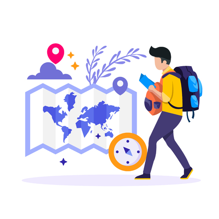 Young people with travel bag and map traveling Ilustração