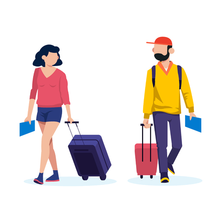 Young people with travel bag and map traveling vector concept Ilustração