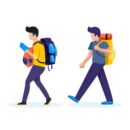 Young people with travel bag and map traveling vector concept Illustration