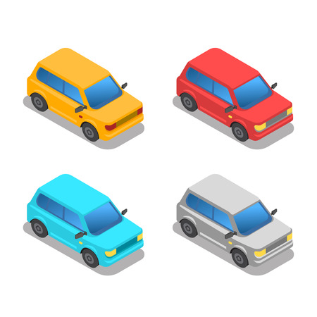 Isometric city transport. Sedan, van, cargo truck, bus vector Ilustração