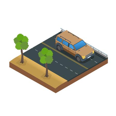 Car Drive Road Flat Vector Illustration Ilustração