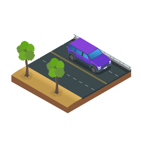 Car Drive Road Flat Vector Illustration Imagens - 123157391