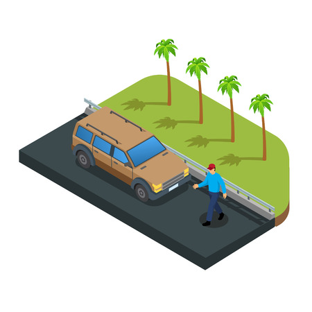 Vector illustration of a car on road trip vector Imagens - 123157459