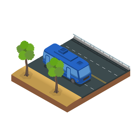 bus driving on freeway vector illustration